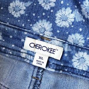 Cherokee Shorts - Cherokee : Daisy print Denim Overall Shorts